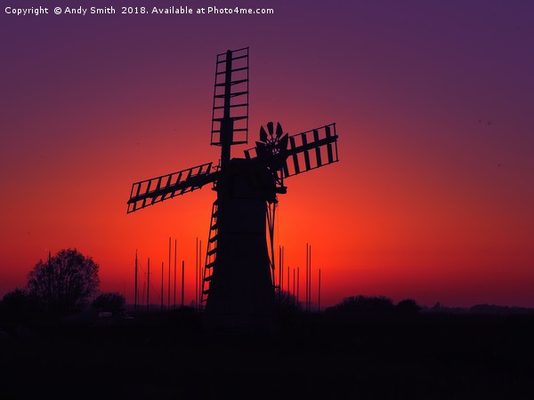 Thurne Mill Sunset, Norfolk Broads           Framed Mounted Print by Andy Smith