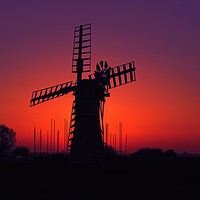 Buy canvas prints of Thurne Mill Sunset, Norfolk Broads           by Andy Smith