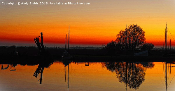 Thurne Sunset Norfolk Broads           Canvas Print by Andy Smith
