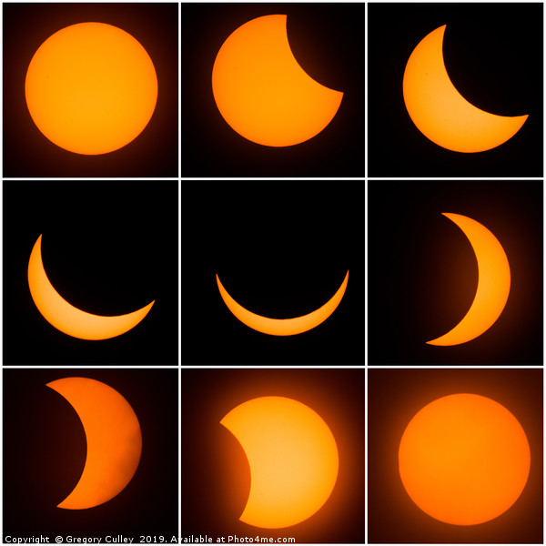 The 9 phases of the solar eclipse Canvas print by Gregory Culley