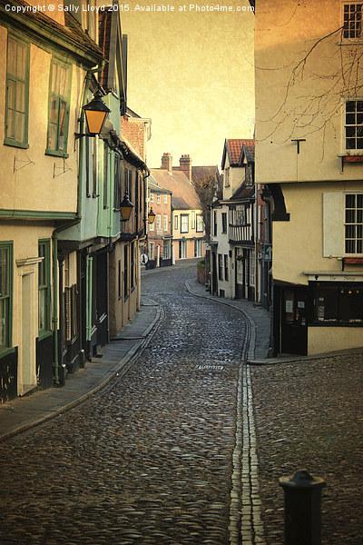 Elm Hill Norwich Framed Mounted Print by Sally Lloyd