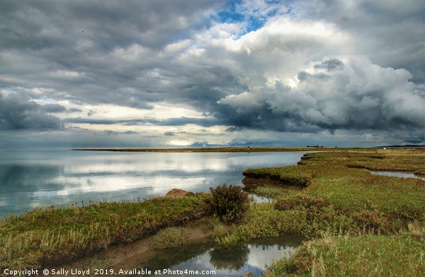 Marsh skies at Stiffkey Creek Framed Mounted Print by Sally Lloyd