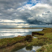 Buy canvas prints of Marsh skies at Stiffkey Creek by Sally Lloyd