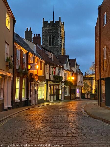 Princes Street at Night, Norwich  Framed Mounted Print by Sally Lloyd