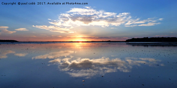 Reflection of a sunset. Framed Print by paul cobb