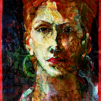 Buy canvas prints of  Placid Face Painting & Texture by Florin Birjoveanu