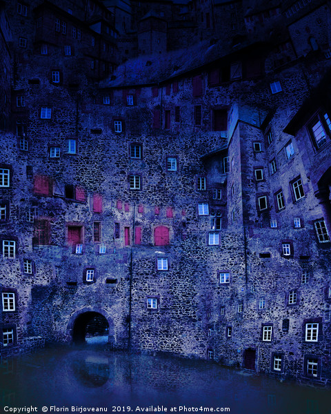 Castle Courtyard Blue Canvas Print by Florin Birjoveanu