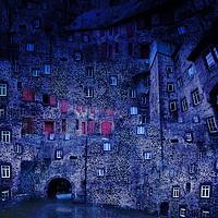 Buy canvas prints of Castle Courtyard Blue by Florin Birjoveanu