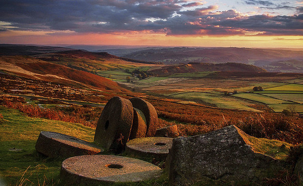 Sunset Colours over the Millstones Canvas print by John Cropper