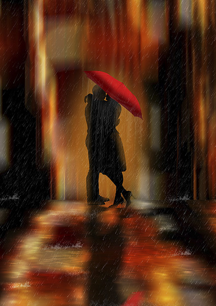 A deluge of love fantasy love and romance Canvas print by Tanya Hall