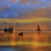 Buy canvas prints of Sunset Fishing by Tanya Hall