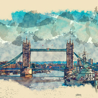 Buy canvas prints of Tower Bridge London Watercolor And Sketch (Digital by Tanya Hall