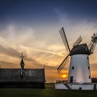 Buy canvas prints of  Lytham Windmill at Sunset by David Bradbury
