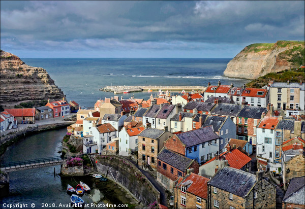 """Evening light on Staithes"" Canvas print by"