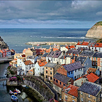 "Buy canvas prints of ""Evening light on Staithes"" by"