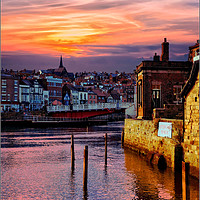 """Buy canvas prints of """"Golden sunset at Whitby"""" by ROSALIND RIDLEY"""