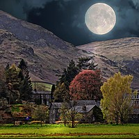 """Buy canvas prints of """"Full moon at Glenridding"""" by ROSALIND RIDLEY"""