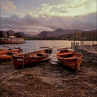 Buy canvas prints of Evening light on Derwentwater boats by ROSALIND RIDLEY