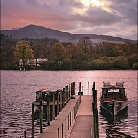 "Buy canvas prints of ""Derwentwater jetty and boats"" by ROSALIND RIDLEY"