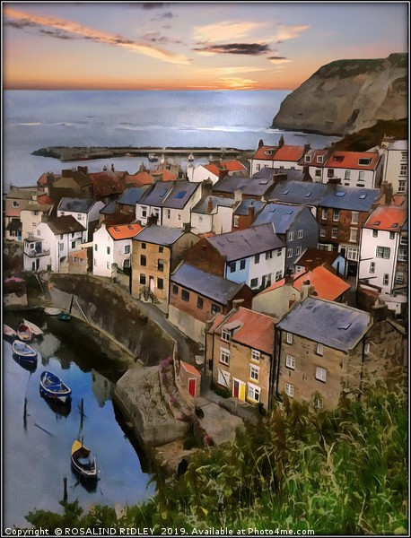 """""""Sunrise at Staithes"""" Framed Mounted Print by ROSALIND RIDLEY"""