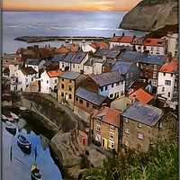 """Buy canvas prints of """"Sunrise at Staithes"""" by ROSALIND RIDLEY"""