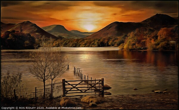 """""""Light on Derwentwater"""" Framed Mounted Print by ROS RIDLEY"""