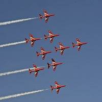 Buy canvas prints of  Red Arrows Display Team. by Andrew Heaps
