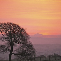 Buy canvas prints of  Evening sunset in Staffordshire. by Andrew Heaps