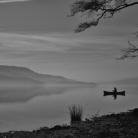 Buy canvas prints of  Lonely Coniston Water by Simon  Hall