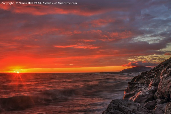 Walney Island Sunset. Canvas Print by Simon Hall