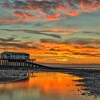 Buy canvas prints of Sunrise Roa Island Lifeboat Station. by Simon Hall