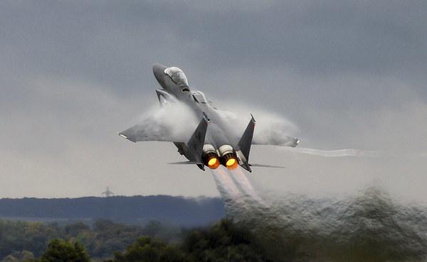 F15E Stike Eagle power climb Canvas print by Philip Catleugh