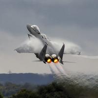 Buy canvas prints of  F15E Stike Eagle power climb by Philip Catleugh