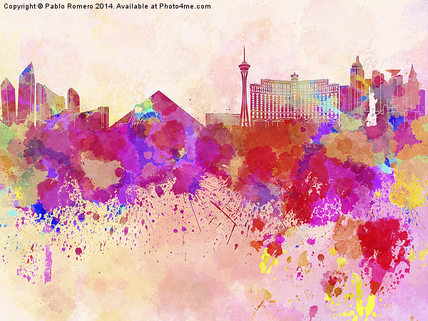 Las Vegas skyline in watercolor background Canvas print by Pablo Romero