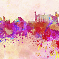 Buy canvas prints of Las Vegas skyline in watercolor background by Pablo Romero