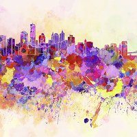 Buy canvas prints of New York skyline in watercolor background by Pablo Romero