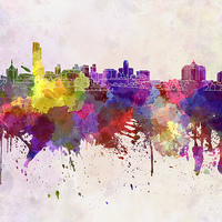 Buy canvas prints of Albany skyline in watercolor background by Pablo Romero