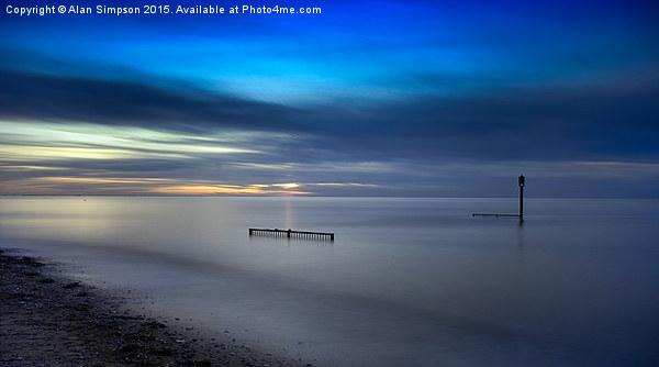 Heacham South Beach Sunset Framed Mounted Print by Alan Simpson