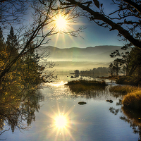 Buy canvas prints of  Sunrise at Loch Morlich by Alan Simpson