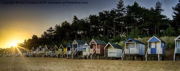 Wells Beach Huts Sunrise Framed Mounted Print by Alan Simpson