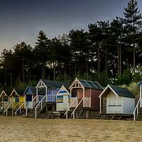 Buy canvas prints of  Wells Beach Huts Sunrise by Alan Simpson