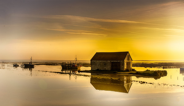 Thornham Harbour Sunrise Framed Mounted Print by Alan Simpson