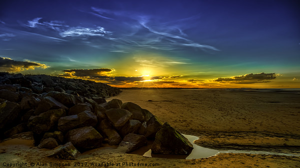 Brancaster Beach Sunset Print by Alan Simpson