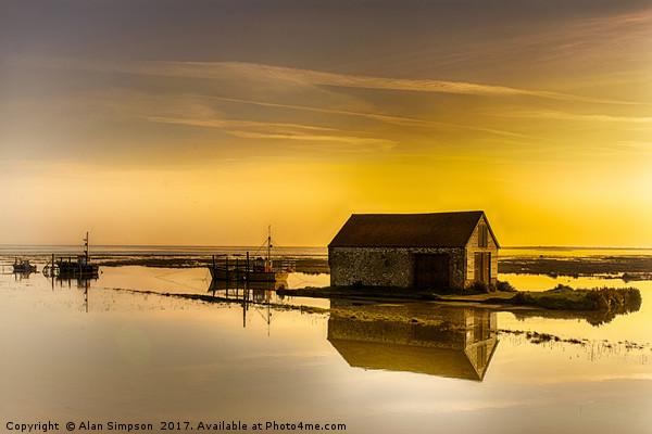 Thornham Harbour Sunrise Framed Mounted Print by Alan Simpson