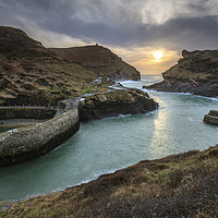 Buy canvas prints of Setting Sun at Boscastle by Andrew Ray