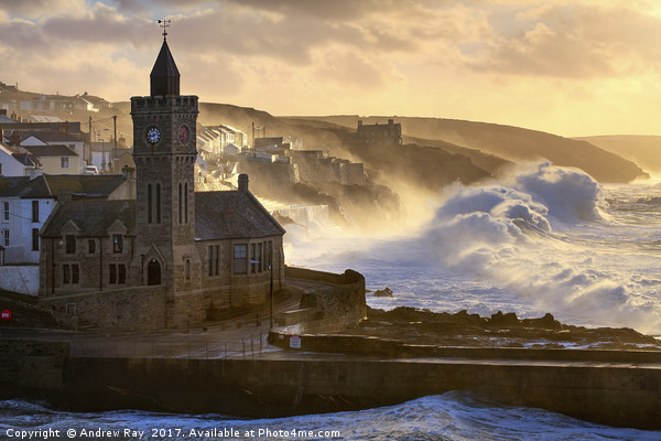 Stormy Morning (Porthleven)  Framed Mounted Print by Andrew Ray