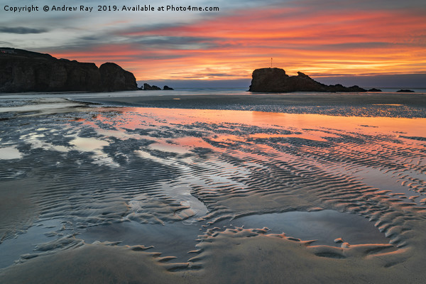 Sand ripples at sunset (Perranporth) Canvas Print by Andrew Ray