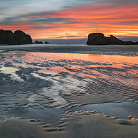 Buy canvas prints of Sand ripples at sunset (Perranporth) by Andrew Ray