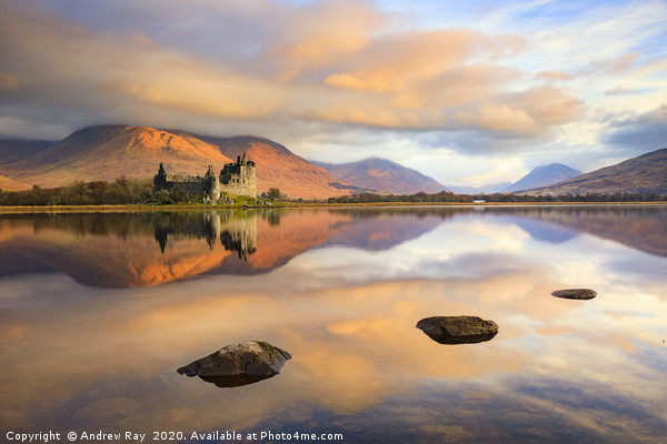 First light on Kilchurn Castle Canvas Print by Andrew Ray
