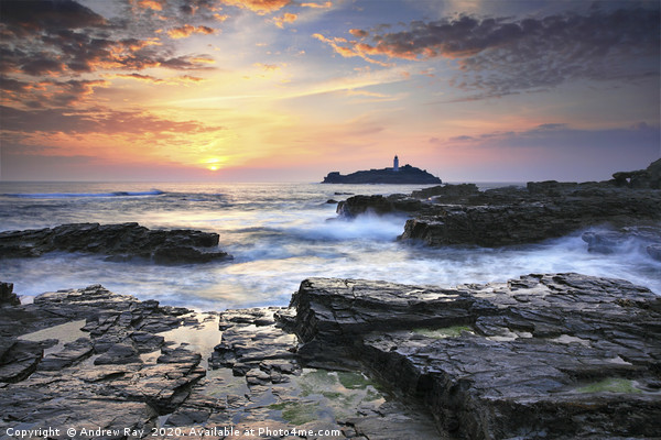 Sunset at Godrevy Canvas print by Andrew Ray